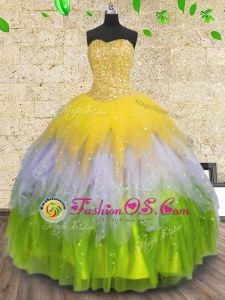 Tulle Sleeveless Floor Length Sweet 16 Dress and Beading and Ruffles and Sequins