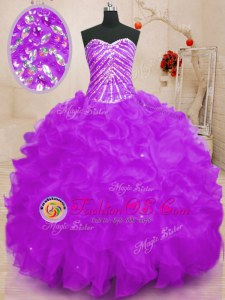 Sweetheart Sleeveless Quinceanera Dresses Floor Length Beading and Ruffles and Sequins Purple Organza