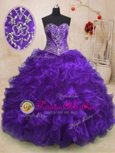 Exquisite Organza Sleeveless With Train Vestidos de Quinceanera Sweep Train and Beading and Ruffles