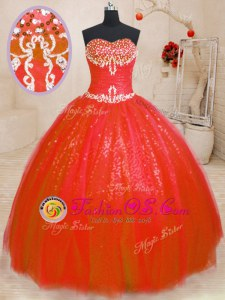 Elegant Sweetheart Sleeveless Quinceanera Gown Floor Length Beading Red Tulle and Sequined