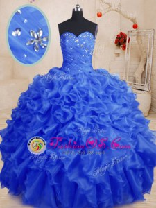 Hot Selling Green Organza Lace Up Quince Ball Gowns Sleeveless Floor Length Beading and Ruffles