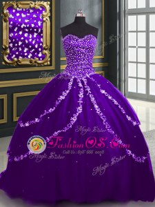 Sweetheart Sleeveless Lace Up Quinceanera Gowns Purple Organza