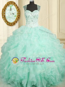 Stylish Straps Sleeveless Zipper Vestidos de Quinceanera Aqua Blue Organza