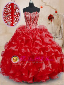 High Class Red Lace Up Sweetheart Beading and Ruffles Quinceanera Gowns Organza Sleeveless