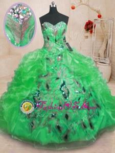 Attractive Ball Gowns Ball Gown Prom Dress Green Sweetheart Organza Sleeveless Floor Length Zipper