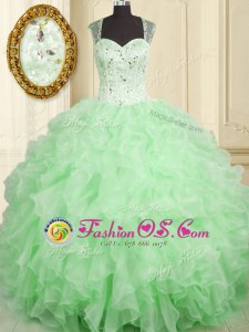 Simple Straps Sleeveless Lace Up Quinceanera Dresses Organza