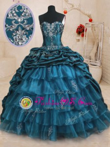 High Class Floor Length Turquoise Quinceanera Gowns Square Cap Sleeves Lace Up