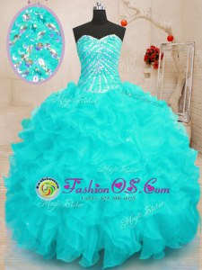 Low Price Sequins Floor Length Aqua Blue Sweet 16 Dresses Sweetheart Sleeveless Lace Up
