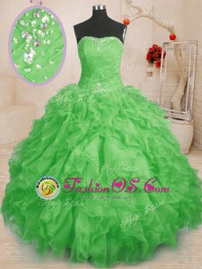 Cheap Ball Gowns Ball Gown Prom Dress Yellow Green Straps Organza Sleeveless Floor Length Lace Up