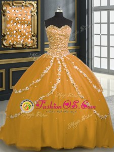 New Style Gold Lace Up Sweet 16 Quinceanera Dress Beading and Appliques Sleeveless With Brush Train