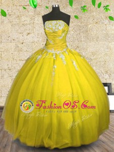 Tulle Strapless Sleeveless Lace Up Appliques and Ruching Quinceanera Dress in Yellow