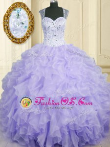 Glittering Lavender Sleeveless Floor Length Beading and Ruffles Lace Up Sweet 16 Dress