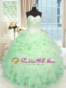 Fabulous Sweetheart Sleeveless Sweet 16 Quinceanera Dress Floor Length Beading and Ruffles Apple Green Organza