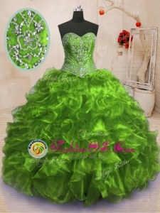 Sleeveless Lace Up Floor Length Beading and Ruffles 15th Birthday Dress