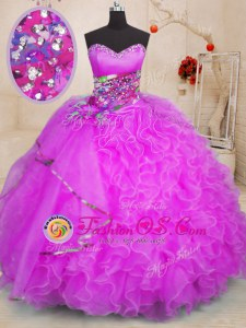 Perfect Fuchsia Lace Up 15 Quinceanera Dress Beading and Ruffles Sleeveless Floor Length