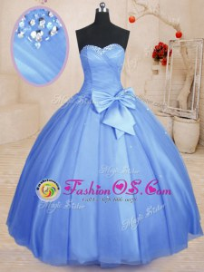 Beading and Bowknot 15th Birthday Dress Light Blue Lace Up Sleeveless Floor Length