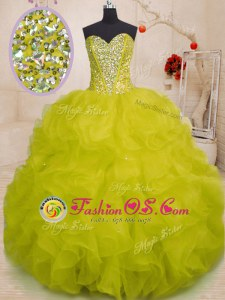 Floor Length Yellow Green 15th Birthday Dress Sweetheart Sleeveless Lace Up