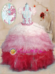 Sweetheart Sleeveless Organza Vestidos de Quinceanera Beading and Appliques and Ruffles Brush Train Lace Up