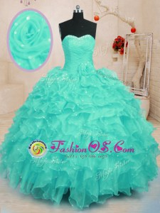 Customized Turquoise Lace Up Quinceanera Dresses Beading and Ruffles and Hand Made Flower Sleeveless Floor Length
