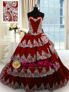Ruffled Wine Red Sleeveless Taffeta Court Train Lace Up Quinceanera Gowns for Military Ball and Sweet 16 and Quinceanera