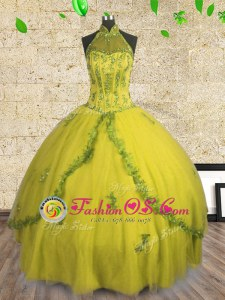 Halter Top Sleeveless Lace Up Floor Length Beading Sweet 16 Dresses