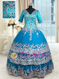 Floor Length Teal Sweet 16 Dresses Tulle Half Sleeves Beading and Lace and Appliques and Ruffled Layers