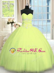 Pretty Yellow Green Lace Up Sweet 16 Dresses Appliques Sleeveless Floor Length