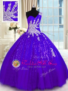 Perfect One Shoulder Purple Ball Gowns Appliques Quinceanera Gowns Lace Up Tulle and Sequined Sleeveless Floor Length