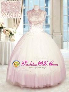 Beading Sweet 16 Quinceanera Dress Baby Pink Zipper Sleeveless Floor Length