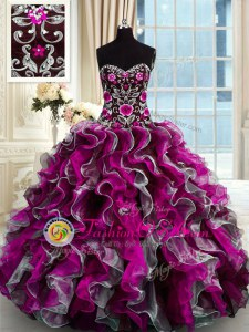 Multi-color Vestidos de Quinceanera Military Ball and Sweet 16 and Quinceanera and For with Beading and Appliques Sweetheart Sleeveless Lace Up