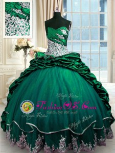 Sweet Pick Ups Brush Train Ball Gowns Sweet 16 Dress Dark Green Sweetheart Taffeta Sleeveless Lace Up