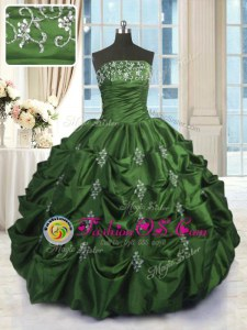 Taffeta Strapless Sleeveless Lace Up Beading and Appliques and Embroidery and Pick Ups 15th Birthday Dress in Green