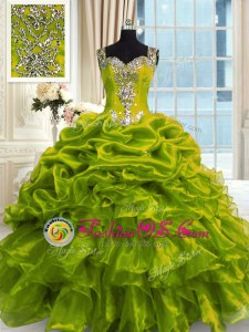 High Quality Floor Length Ball Gowns Sleeveless Olive Green Quinceanera Gown Lace Up