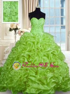 Low Price Organza Lace Up Sweetheart Sleeveless With Train Quince Ball Gowns Sweep Train Beading and Pick Ups