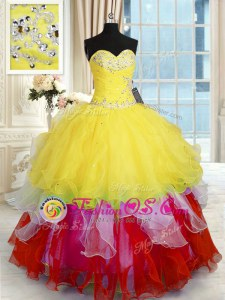Exceptional Multi-color Sleeveless Floor Length Beading and Ruffles Lace Up Sweet 16 Quinceanera Dress