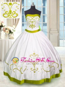 Popular Floor Length White 15 Quinceanera Dress Satin Sleeveless Embroidery