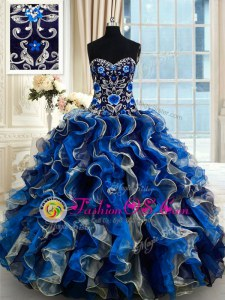Multi-color Ball Gowns Beading and Ruffles Quince Ball Gowns Lace Up Organza Sleeveless Floor Length