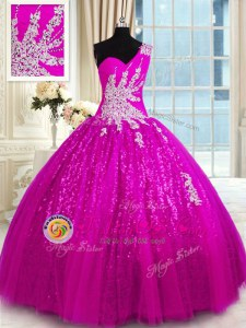 One Shoulder Sleeveless Lace Up Floor Length Appliques Quince Ball Gowns