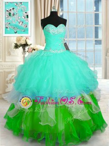 Ruffled Ball Gowns Sweet 16 Quinceanera Dress Multi-color Sweetheart Organza Sleeveless Floor Length Lace Up