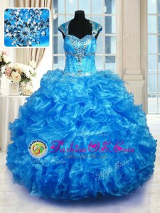 Captivating Organza Straps Cap Sleeves Lace Up Beading and Ruffles Quinceanera Gown in Baby Blue