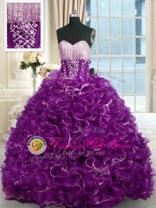 High Quality Brush Train Ball Gowns 15 Quinceanera Dress Purple Sweetheart Organza Sleeveless With Train Lace Up
