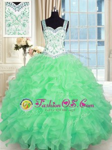 Lace Up Vestidos de Quinceanera Beading and Appliques and Ruffles Sleeveless Floor Length