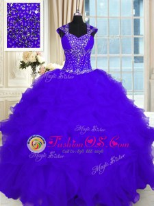 Cap Sleeves Organza Floor Length Lace Up Quince Ball Gowns in Purple for with Beading and Ruffles