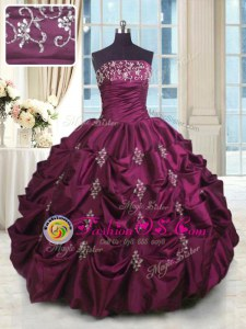 Sleeveless Taffeta Lace Up Quince Ball Gowns for Military Ball and Sweet 16 and Quinceanera