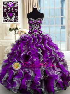 Chic Multi-color Organza Lace Up Sweetheart Sleeveless Floor Length Quinceanera Gowns Beading and Appliques