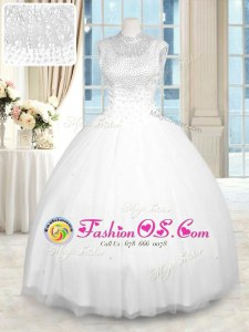 Most Popular High-neck Sleeveless Zipper Sweet 16 Dresses White Tulle