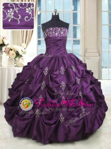 Pick Ups Dark Purple Sleeveless Taffeta Lace Up Quinceanera Dress for Military Ball and Sweet 16 and Quinceanera