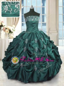 Sleeveless Floor Length Beading and Ruffles Lace Up Quinceanera Dresses with White