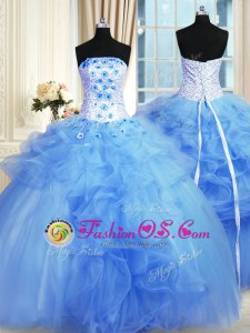 Blue Tulle Lace Up 15th Birthday Dress Sleeveless Floor Length Pick Ups and Hand Made Flower