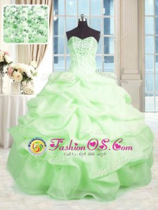 Noble Sleeveless Beading and Ruffles Lace Up Quinceanera Dresses